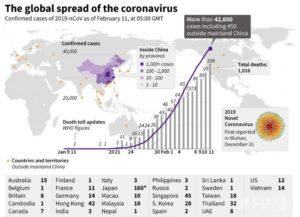 新型コロナウィルス(新型肺炎):感染者が確認された国と地域、発症者数、死亡数